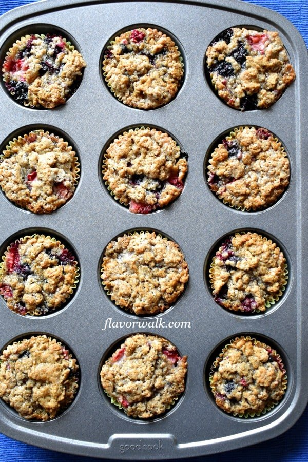 Triple Berry Gluten Free Muffins in muffin pan | Flavor Walk