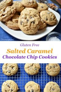 caramel bits and semisweet chocolate chips. The sea salt, sprinkled on top, complements the richness with a salty bite! Recipe at www.flavorwalk.com #glutenfree #caramel #chocolatechipcookies #cookies #snack #dessert