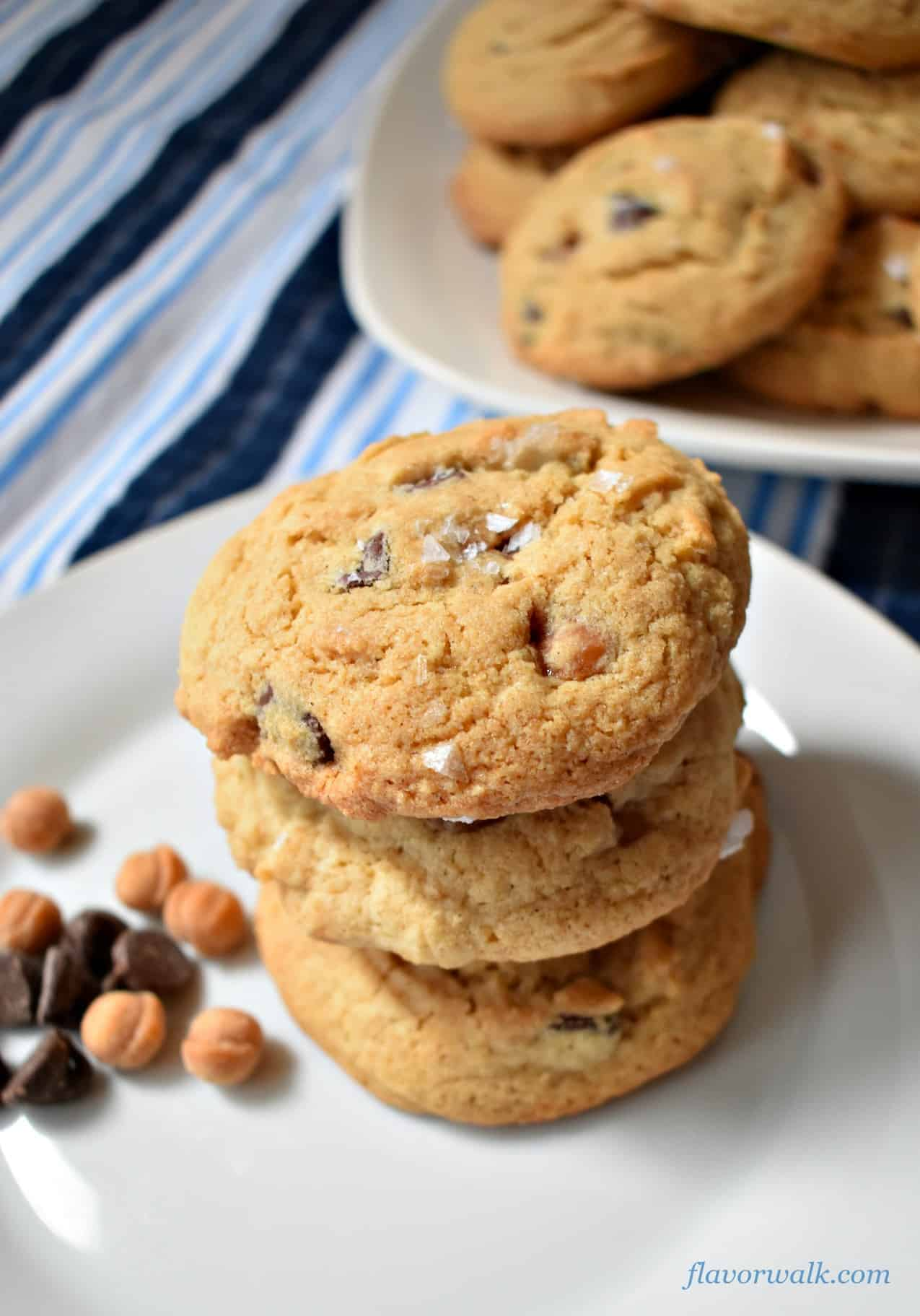 Salted Caramel Chocolate Chip Cookies on a white plate | Flavor Walk