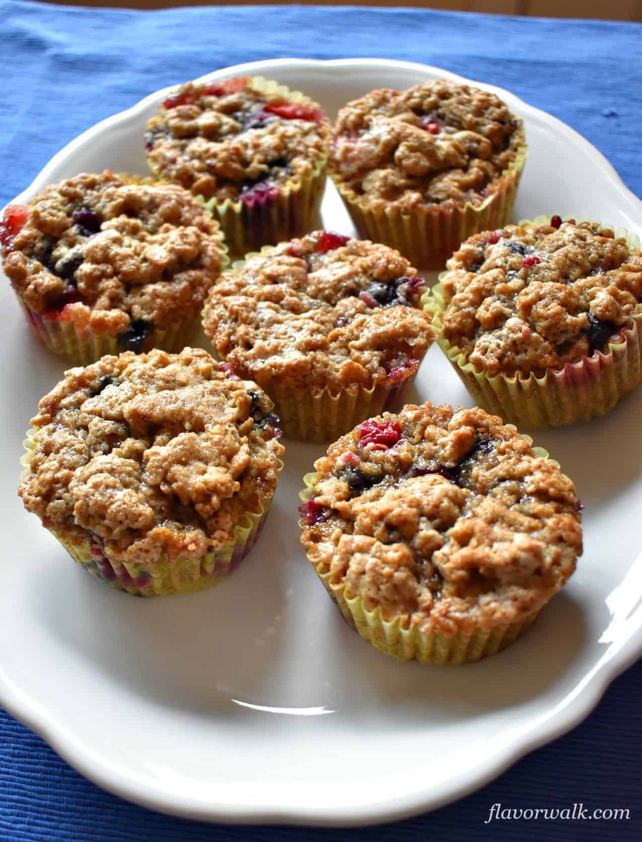 Triple Berry Gluten Free Muffins on white plate | Flavor Walk