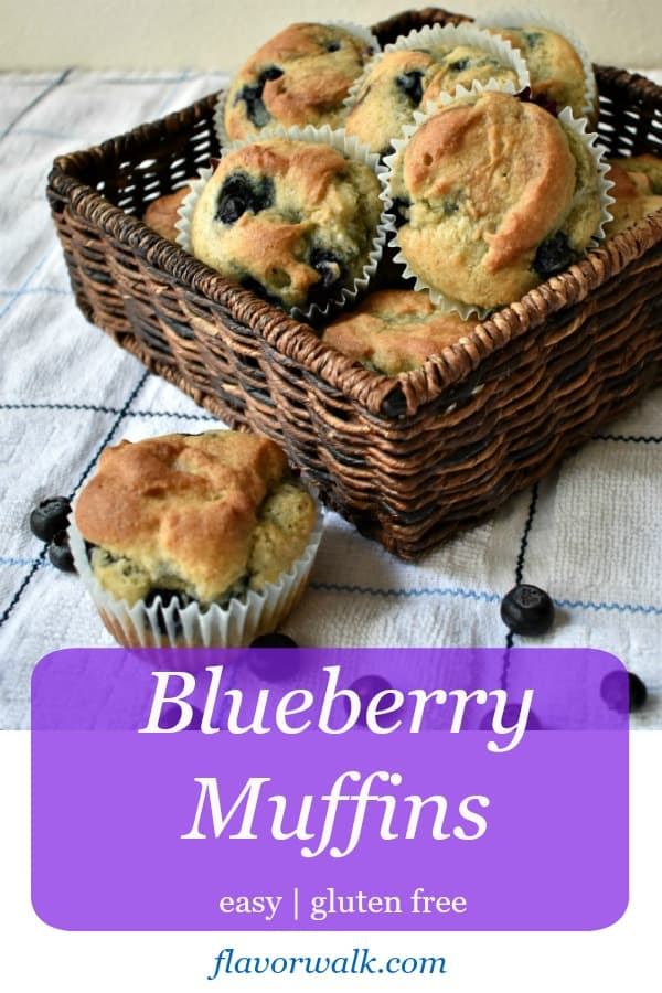 Easy Gluten Free Blueberry Muffins are moist, sweet, and filled with blueberry flavor. A perfect treat for breakfast or an afternoon snack!