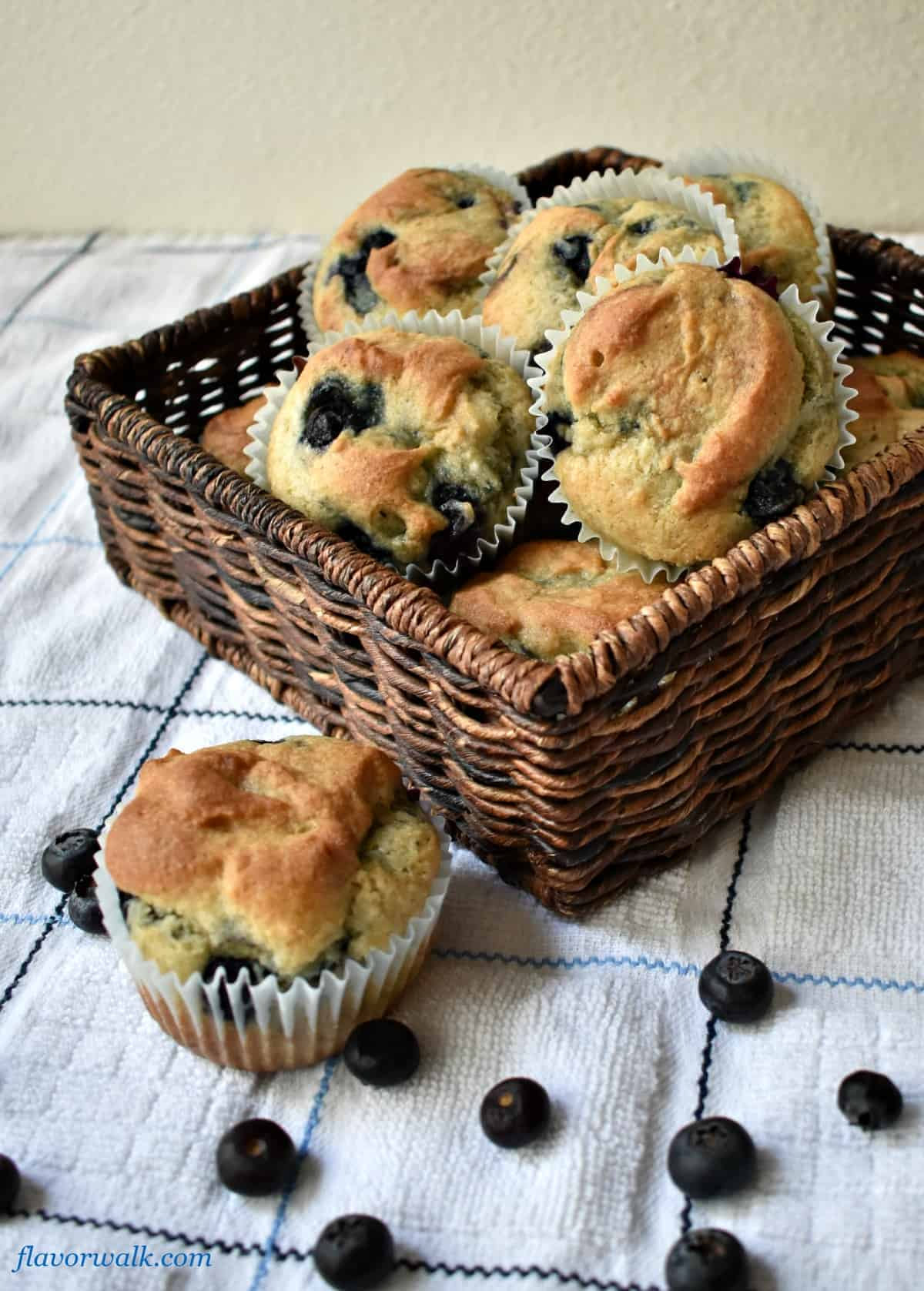 Easy Gluten Free Blueberry Muffins in a basket | Flavor Walk