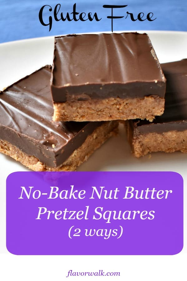 No-Bake Gluten Free Nut Butter Pretzel Squares are easy to make, need only a few ingredients, and will disappear quickly! Simple ingredient swaps make it easy to customize them to fit your taste buds.