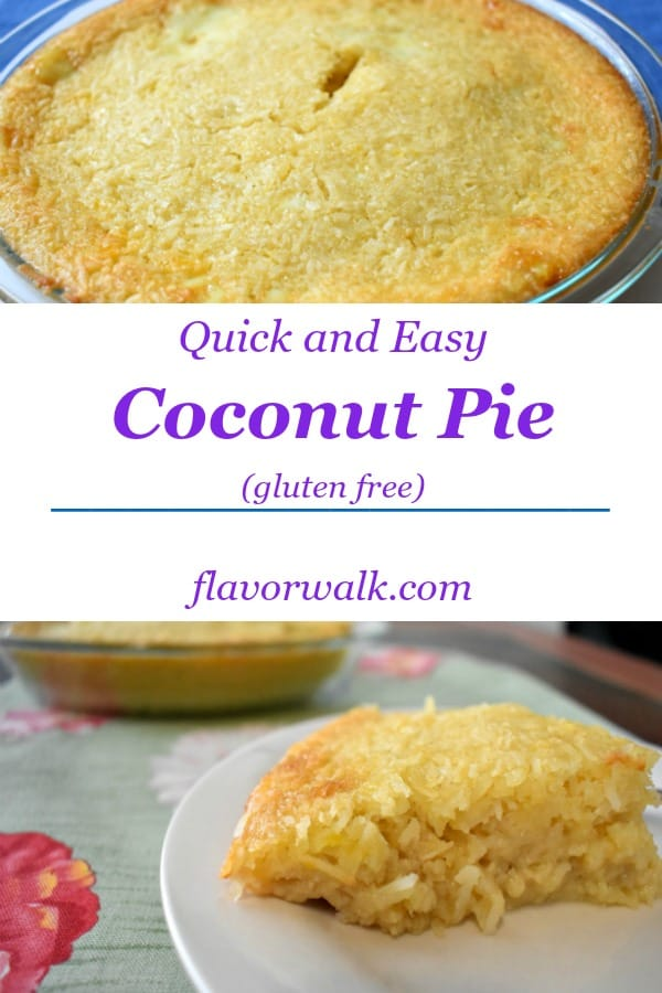 If you're a coconut fan, you need to give this Quick and Easy Gluten Free Coconut Pie a try. It is packed with delicious coconut flavor and so very easy to make!