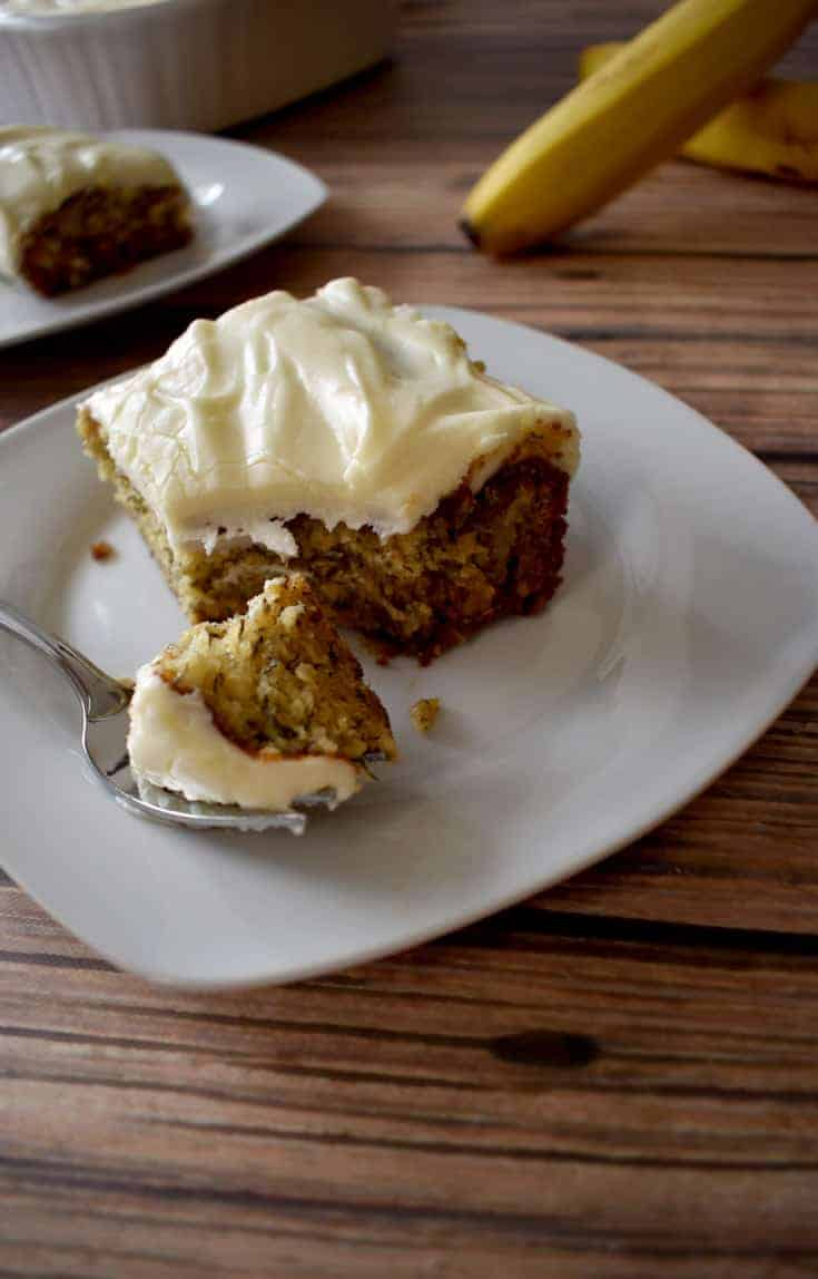 Gluten Free Banana Cake with Cream Cheese Frosting | Flavor Walk