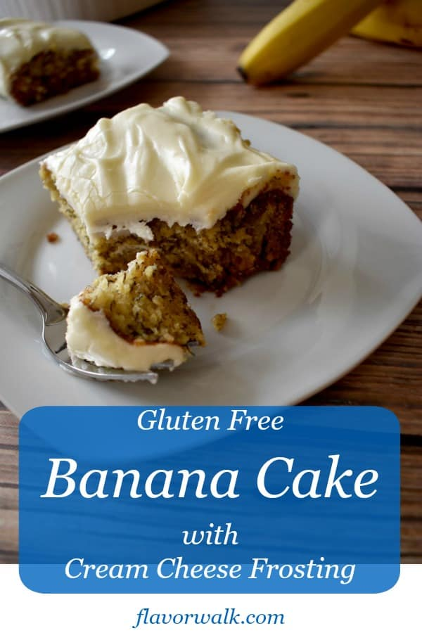 Gluten Free Banana Cake is super moist and tasty. It's delicious on its own, but the cream cheese frosting takes it to another level!