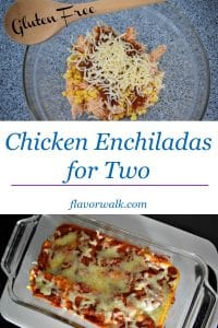 Chicken Enchiladas for Two are packed with flavor, and are just the right amount for two! #glutenfree #chicken #enchiladas #dinner #mealsfortwo