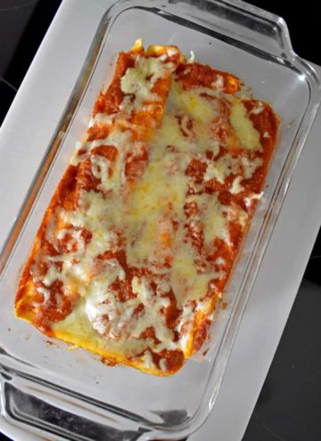 Chicken Enchiladas for Two in a glass loaf pan | Flavor Walk