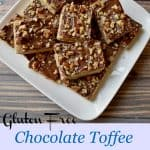 Gluten Free Chocolate Toffee Bars are the perfect treat any time you have a craving for a little something sweet. These buttery, toffee flavored bars, topped with sweet chocolate and crunchy nuts are simple and delicious. #glutenfree #chocolate #toffee #bars