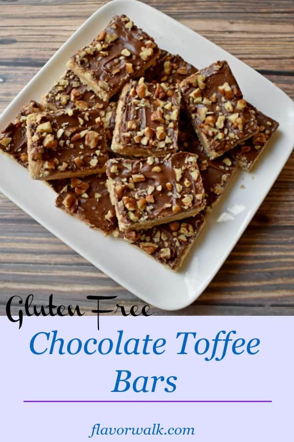 Gluten Free Chocolate Toffee Bars are the perfect treat any time you have a craving for a little something sweet. These buttery, toffee flavored bars, topped with sweet chocolate and crunchy nuts are simple and delicious.