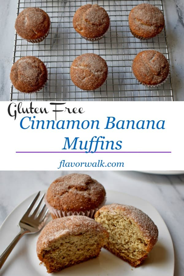 Gluten Free Cinnamon Banana Muffins have a tasty cinnamon-sugar topping. They're perfect when you want a simple breakfast treat or afternoon snack. #glutenfree #cinnamon #banana #muffins #breakfast #snack