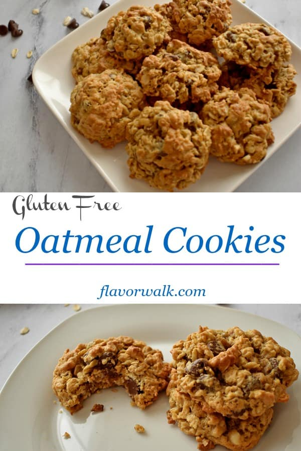 Gluten Free Oatmeal Cookies with chocolate chips and peanut butter are hard to resist. They're crunchy on the outside, chewy in the middle, and have just the right amount of sweetness!!