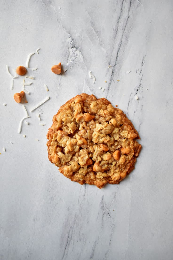 A Toasted Coconut Butterscotch Oatmeal Cookie on granite countertop with butterscotch morsels and coconut in top left corner