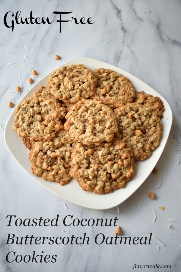 Toasted Coconut Butterscotch Oatmeal Cookies are sweet and chewy with a hint of coconut. This gluten free recipe is a new twist on an old classic. #glutenfree #coconut #butterscotch #oatmeal #cookies