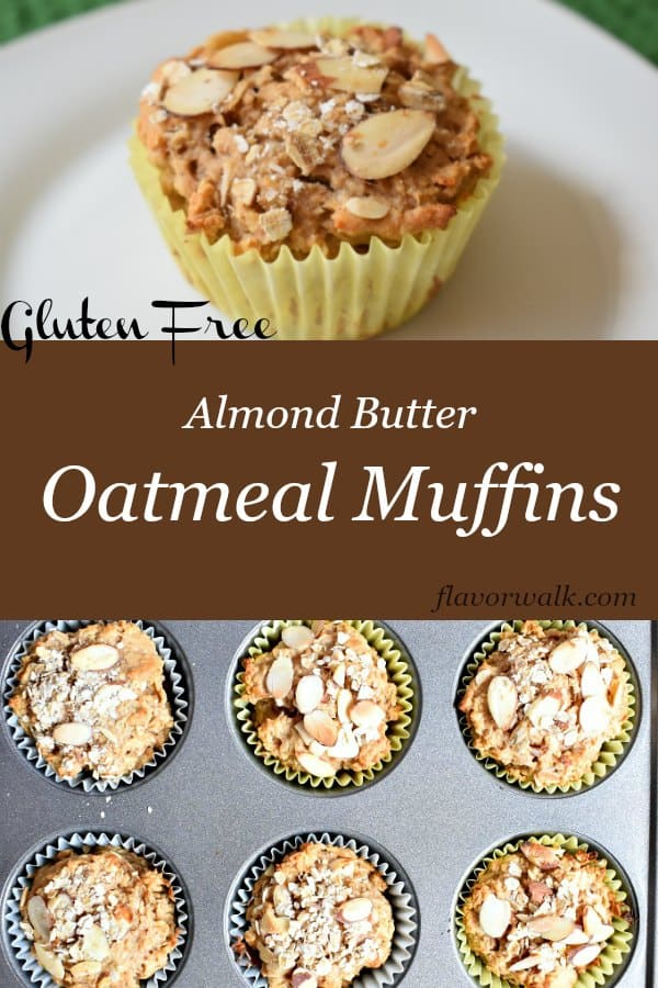 Almond Butter Oatmeal Muffins are packed with flavor and a perfect start to any day. If you like savory over sweet, you have to try these muffins. Recipe from www.flavorwalk.com #glutenfree #oatmealmuffins