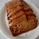 Slices of Caramelized Banana Bread {Gluten Free} on white plate. | Flavor Walk