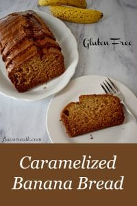 Caramelized Banana Bread is tender, moist, and delicious. The brown butter glaze adds a subtle layer of sweetness to this tasty quick bread. Recipe at www.flavorwalk.com #caramelizedbananabread #glutenfreebananabread
