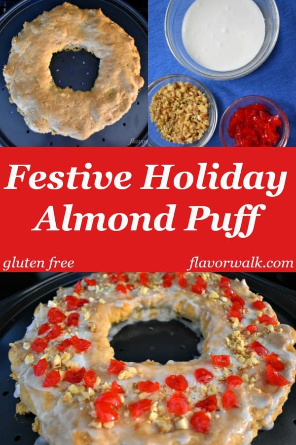 Festive Holiday Gluten Free Almond Puff is a buttery, flaky pastry, that's not too sweet. It's sure to become a family favorite!