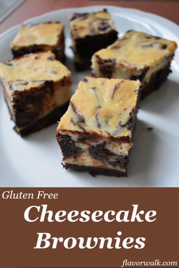Cheesecake Brownies are extra rich and decadent! The perfect blend of cream cheese and chocolate. No one will guess they're gluten free!! | Flavor Walk
