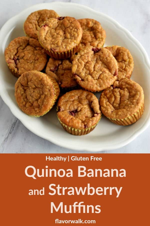 These Healthy Quinoa Banana and Strawberry Muffins are perfect for a grab-and-go breakfast or snack. The muffins have amazing flavor and wonderful texture!
