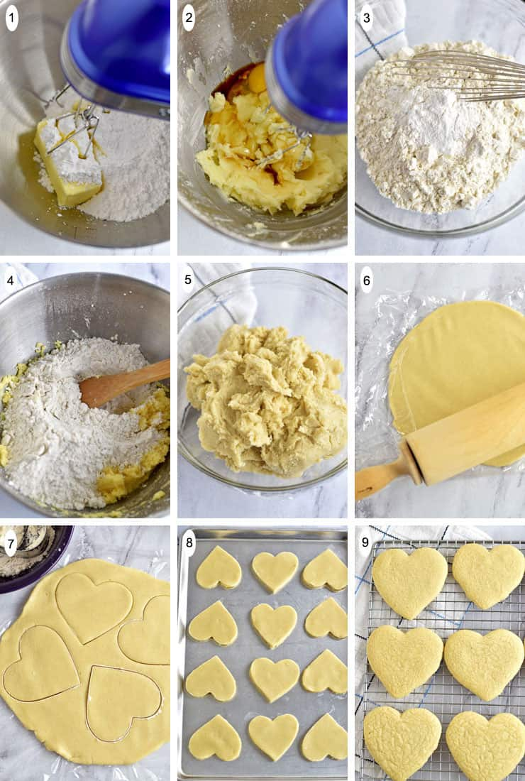 9 process shots of how to make Frosted Powdered Sugar Cookies