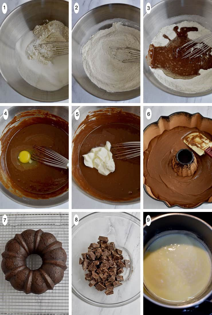9 process shots of how to make Gluten Free Chocolate Sour Cream Bundt Cake