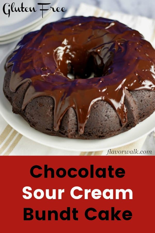 This Gluten Free Chocolate Sour Cream Bundt Cake, is rich, dense, and topped with a fudgy chocolate glaze. A piece of cake to make, this delicious dessert is perfect for everyday use or special occasions. Recipe at www.flavorwalk.com #gfchocolatecake #chocolatebundtcake