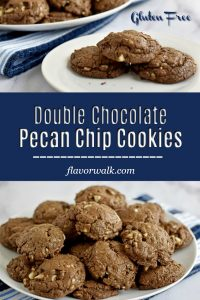 These chocolate chip pecan cookies are soft, chewy, and packed with flavor. The combination of semi-sweet chocolate, white chocolate, and pecans makes these Double Chocolate Pecan Chip Cookies a must-bake! #glutenfreecookies #chocolatechipcookies