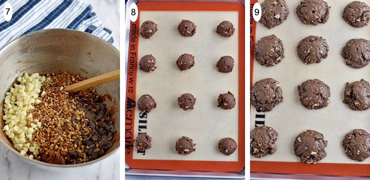 Process steps 7-9 for making Double Chocolate Pecan Chip Cookies