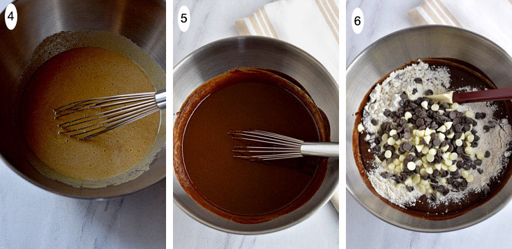 Gluten Free Triple Chocolate Chip Brownies Process Steps 4-6