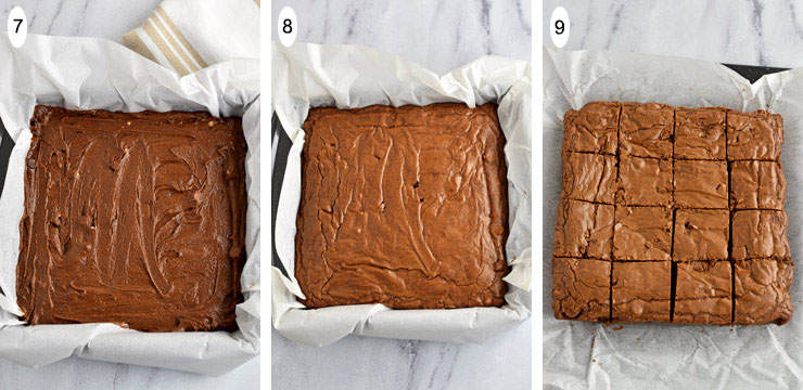 Gluten Free Triple Chocolate Chip Brownies Process Steps 7-9
