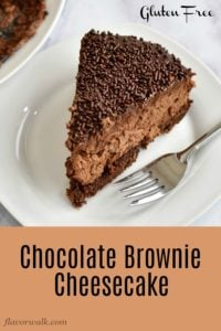 This delicious chocolate cheesecake is a truly decadent dessert. The rich cheesecake sits on a brownie base and is topped with chocolate ganache. If you love chocolate, but need to avoid gluten, this Chocolate Brownie Cheesecake is for you. Recipe at www.flavorwalk.com #glutenfree #cheesecake