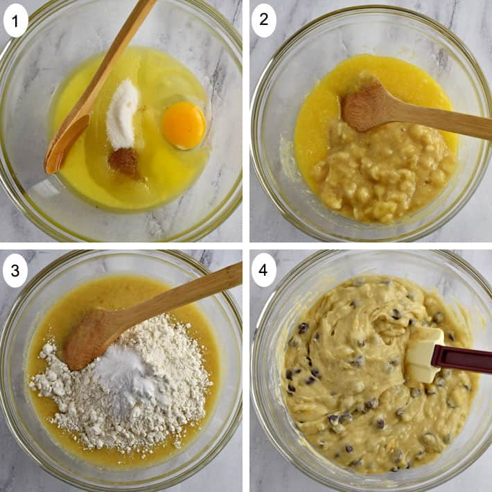 First four process steps for making gluten free chocolate chip banana muffins