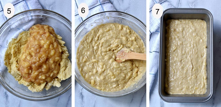 Process steps 5-7 for making Mary's Homemade Banana Bread