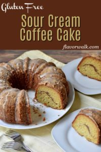 This Sour Cream Coffee Cake Recipe, topped with a delicate glaze, is so light and refreshing no one will guess its gluten free. A must try for coffee cake lovers, this tender dessert is perfect as a breakfast treat or after dinner indulgence. #glutenfreecake #coffeecake #glutenfreedessert