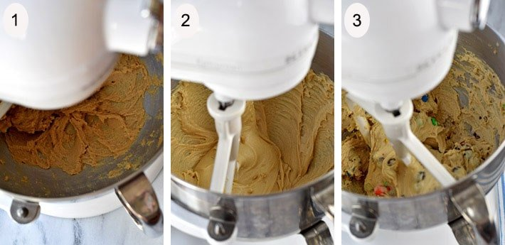 Process steps 1-3 for making No Bake Cookie Dough Bites