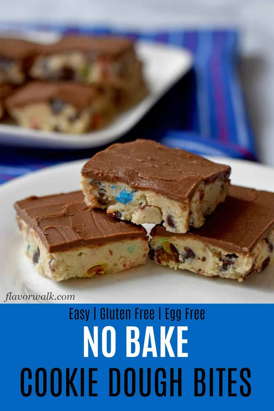 These No Bake Cookie Dough Bites are easy to make and hard to resist. You won't be able to eat just one. They're the perfect treat for kids and every kid-at-heart! #glutenfreerecipes #nobake #cookiedoughbites