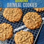 This Banana Oatmeal Cookie Recipe makes unbelievably soft, tender, and chewy cookies. The delicious banana flavor and texture from the oats is hard to resist. If you have ripe bananas waiting to be used, you have to try this recipe! #glutenfreerecipes #bananaoatmealcookies