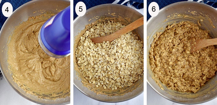 Process steps 4-6 for making banana oatmeal cookie recipe