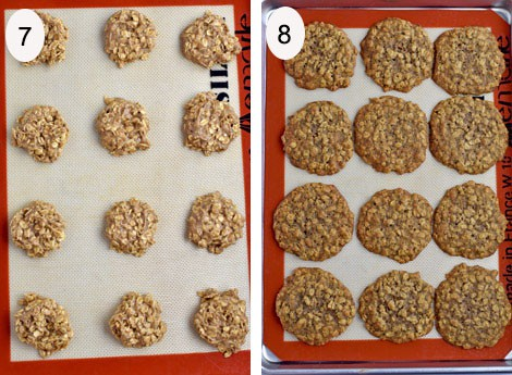 Process steps 7-8 for making banana oatmeal cookies