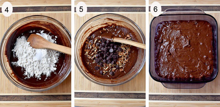 Process steps 4-6 for making Rich Chocolate Pecan Brownies