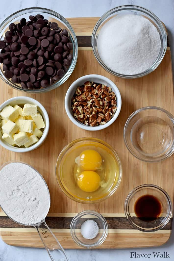 Overhead view of ingredients needed to make Rich Chocolate Pecan Brownies