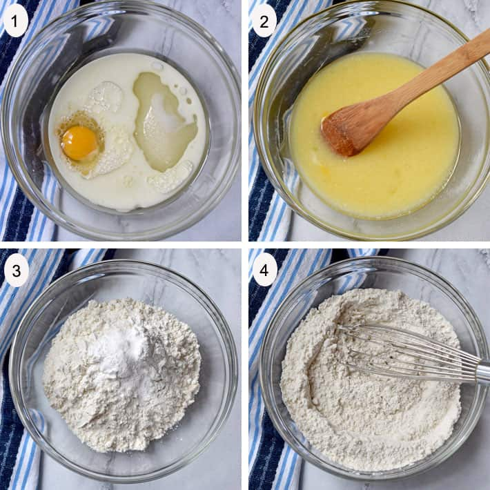Steps 1 - 4 for making Strawberry Bread
