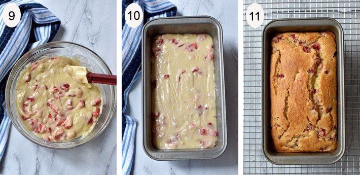 Steps 9 - 11 for making Strawberry Bread