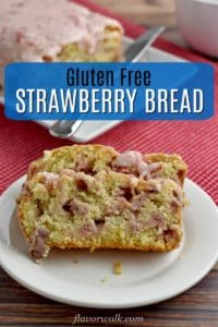 This Strawberry Bread Recipe is a perfect opportunity to use some of the fresh strawberries abundant this time of year. The flavorful quick bread is delicious on its own, but add the sweet strawberry glaze and you have a tasty slice of summer. #glutenfreerecipes #strawberrybread