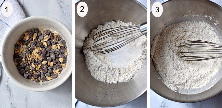Process steps 1-3 for making Gluten Free Chocolate Chip Banana Bread