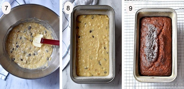 Process steps 7-9 for making Gluten Free Chocolate Chip Banana Bread