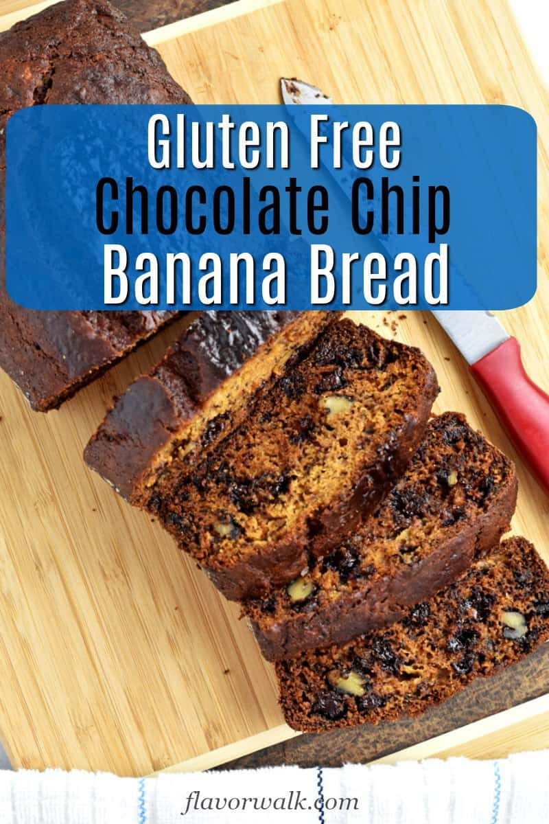 Looking for a dressed-up version of the standard banana bread recipe? You have to try this gluten free chocolate chip banana bread. The chocolate and nuts give the quick bread a sweet delicious flavor. #glutenfreerecipes #chocolatechipbananabread