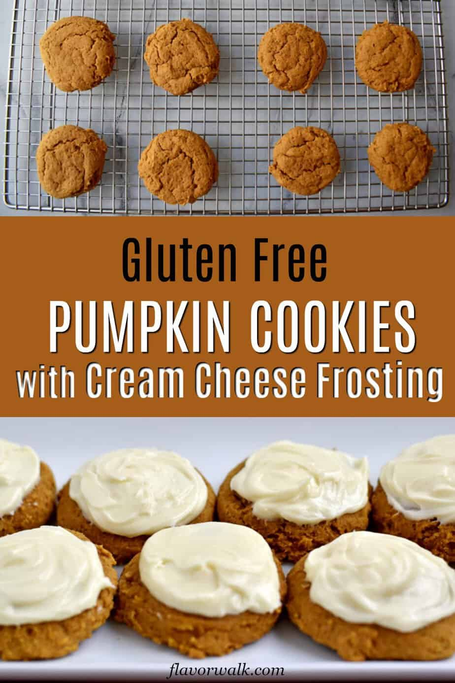 These Gluten Free Pumpkin Cookies, with cream cheese frosting, are a must-try for pumpkin fans! They're soft, sweet, perfectly spiced, and packed with pumpkin flavor. If you want to satisfy those pumpkin cravings, look no further than this flavorful cookie recipe! #glutenfreerecipes #pumpkincookies #glutenfreecookies