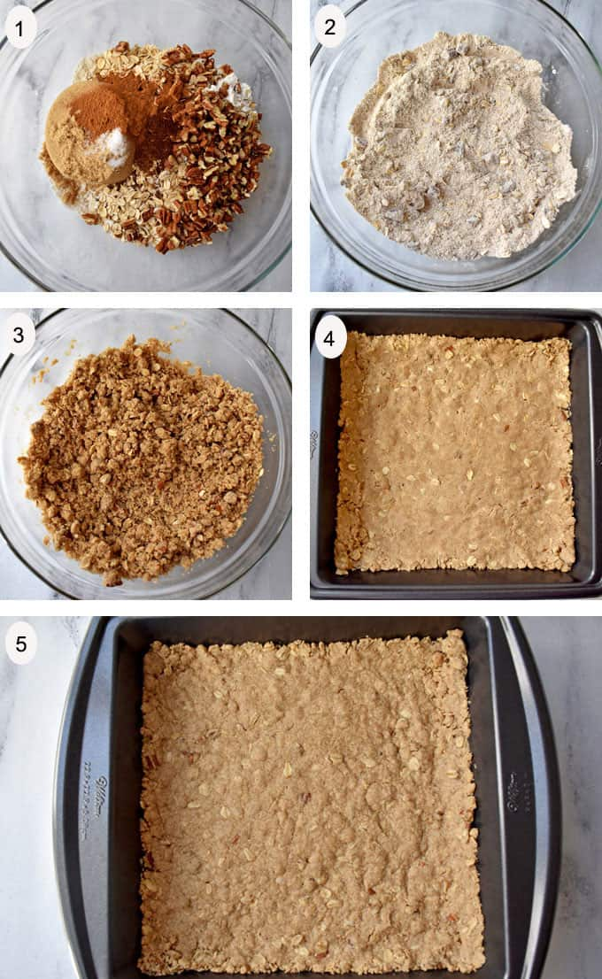 Process steps 1-5 for making gluten free apple dessert